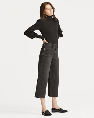 Lace-Up Cropped Flare Jean