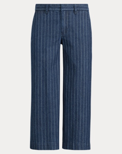 Pinstripe Denim Wide-Leg Pant