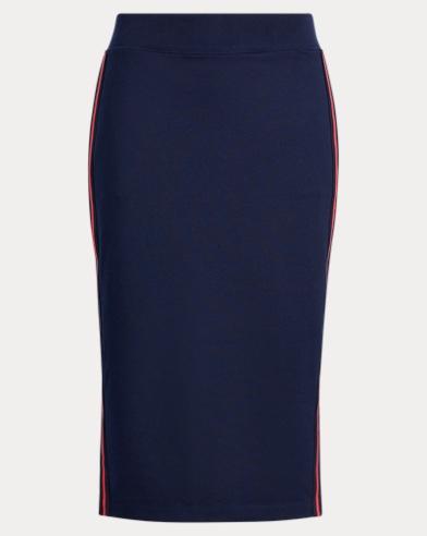 Side-Stripe Cotton-Blend Skirt