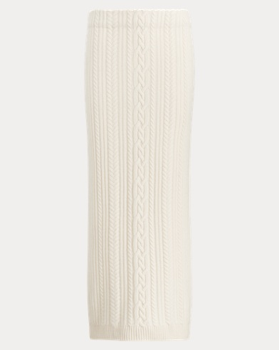 Cable Wool-Cashmere Midi Skirt