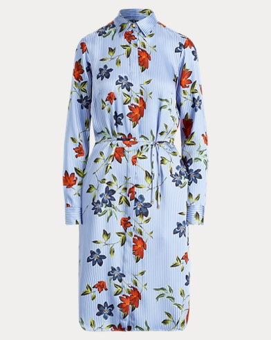 Print Twill Shirtdress