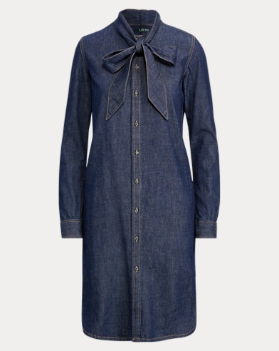 Tie-Neck Denim Dress