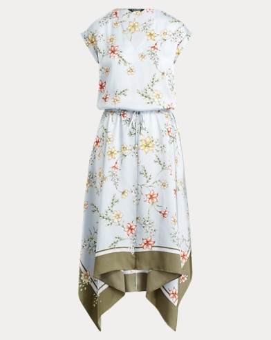 Floral Drawstring Twill Dress