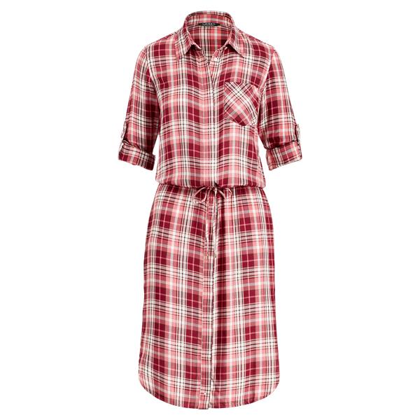 Ralph Lauren Plaid Drawstring Shirtdress Red Multi 14