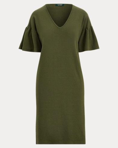 Ruffle-Sleeve Sweater Dress