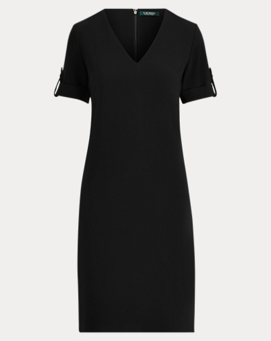 Roll-Tab-Sleeve Shift Dress