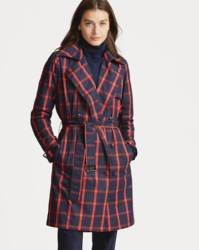 Windowpane Twill Trench Coat