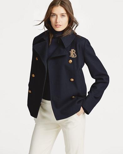 Bullion-Patch Wool-Blend Coat