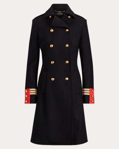Wool-Blend Officer's Coat