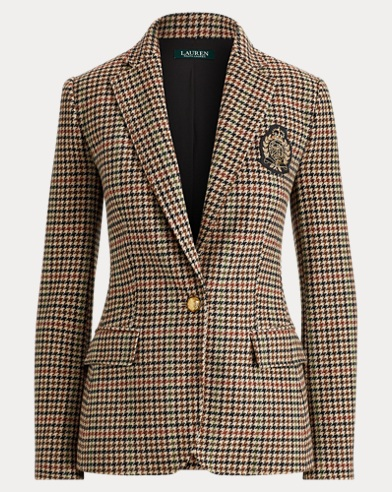 Bullion Plaid Wool Blazer