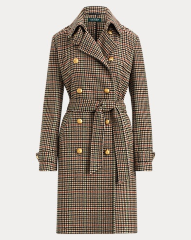 Plaid Wool-Blend Trench