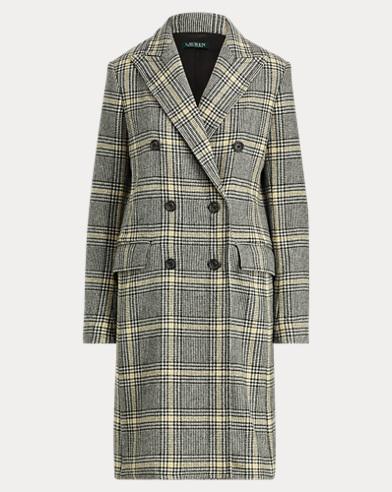 Plaid Wool-Blend Trench Coat
