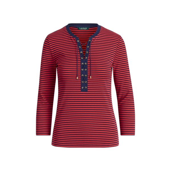 Ralph Lauren Striped Lace-Up Cotton Top Navy/Crimson Sp