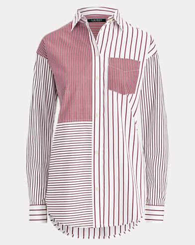 Striped Patchwork Cotton Shirt
