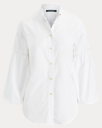 Broadcloth Bishop-Sleeve Shirt