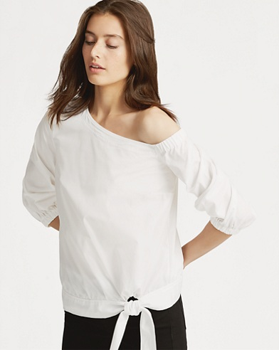 Asymmetrical Broadcloth Top