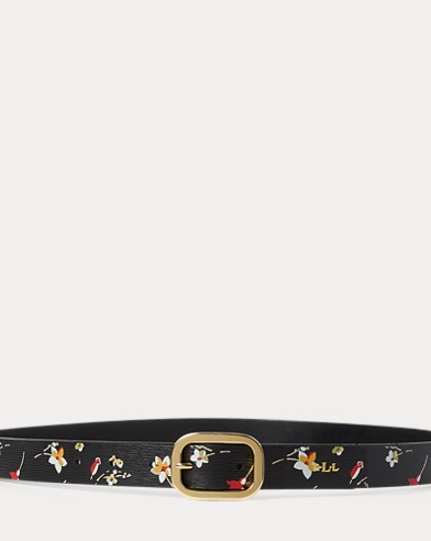 Floral Saffiano Leather Belt