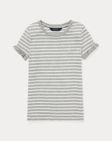 Striped Ruffled Jersey T-Shirt