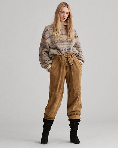 Suede Belted Straight Trousers