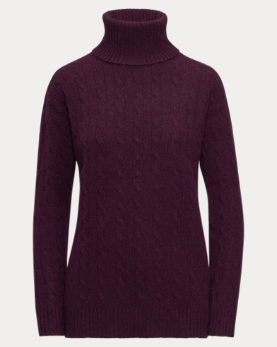 Slit Cable Turtleneck Sweater