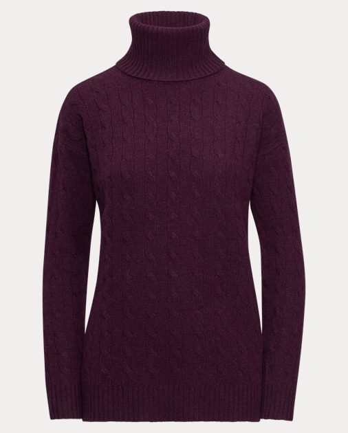 Slit Cable Turtleneck Sweater   Ralph Lauren UK 3e308856f0b
