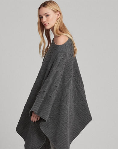Cable Wool-Blend Poncho