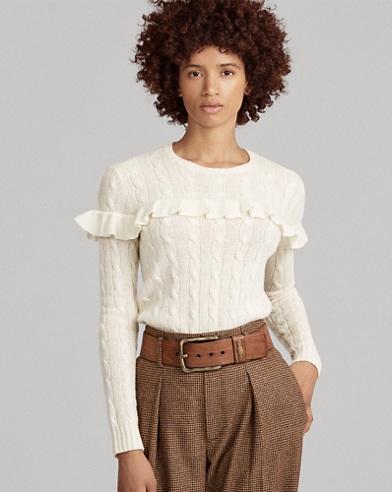Pull en laine mélangée à volants