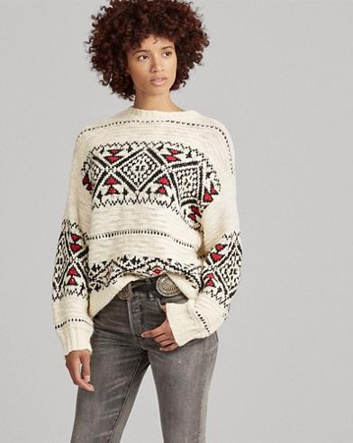 Pull géométrique en laine mélangée