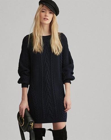 Abito in maglia di lana punto Aran