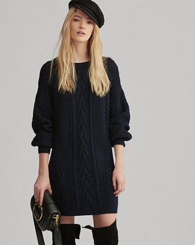 Robe-pull en tricot d'Aran en laine