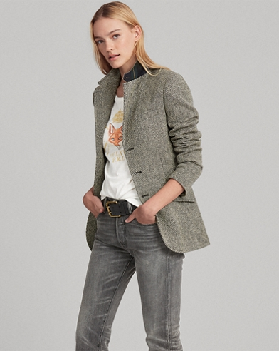Blazer in tweed a spina di pesce