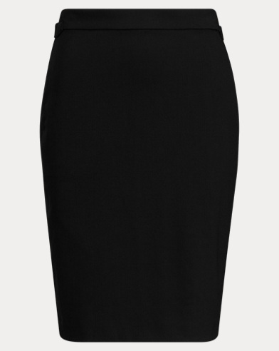 Buckled Wool Pencil Skirt