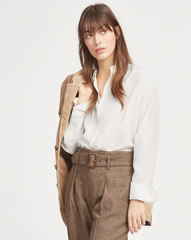 Button-down-Bluse mit Seide