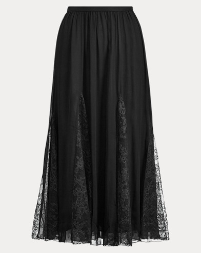 Embroidered Silk Midi Skirt