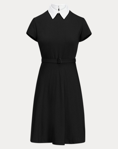 Belted Wool A-Line Dress