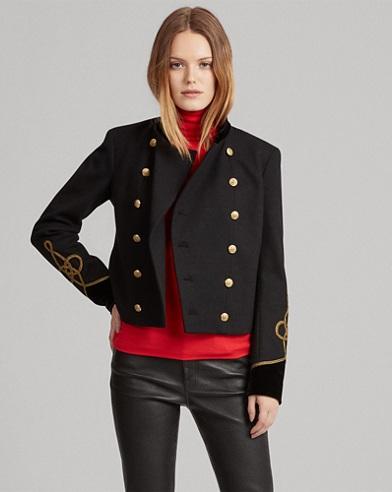 Velvet-Trim Military Jacket