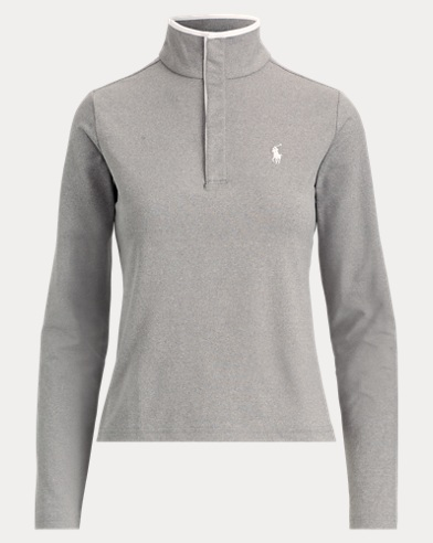 Snapped-Placket Mockneck Top