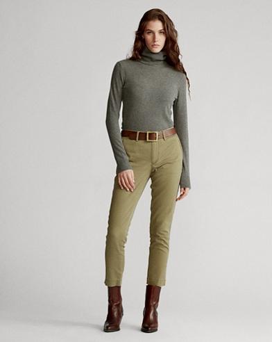 Pantaloni dritti in cotone stretch