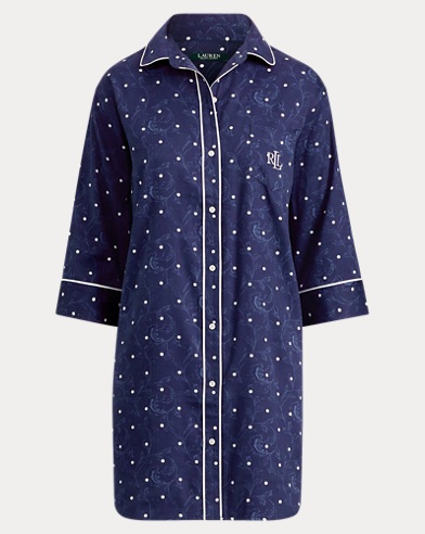 Polka-Dot Sateen Sleep Shirt