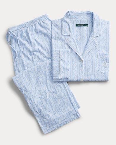 Paisley Cotton-Blend Sleep Set