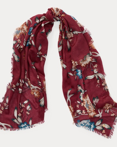 Floral Wool-Silk Scarf