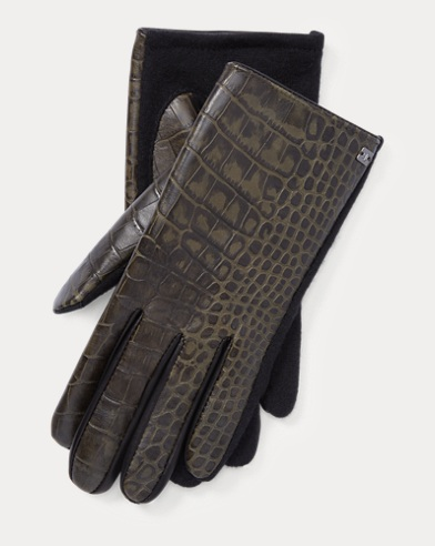 Crocodile-Embossed Tech Gloves
