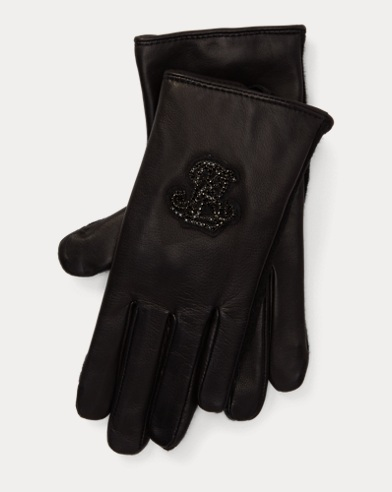 Crystal Logo Leather Gloves