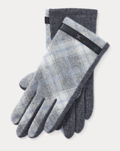 Plaid Wool-Blend Tech Gloves