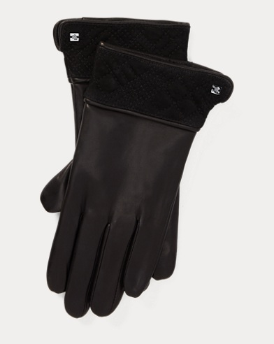 Trapunto-Cuff Leather Gloves