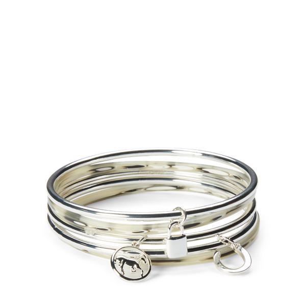 Ralph Lauren Equestrian Bangle Set Silver/Horn One Size