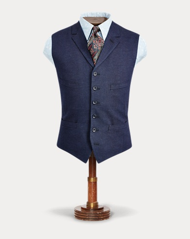 Indigo Herringbone Vest