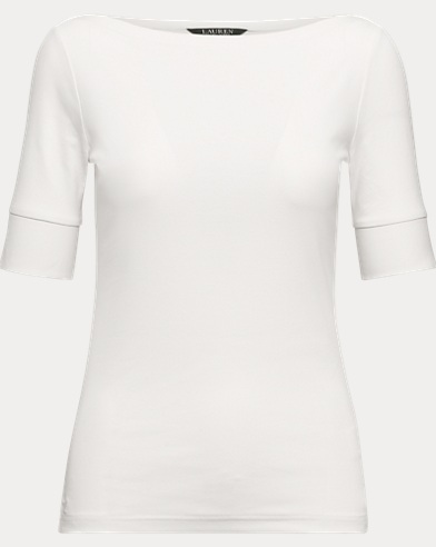 Button-Trim Elbow-Sleeve Top