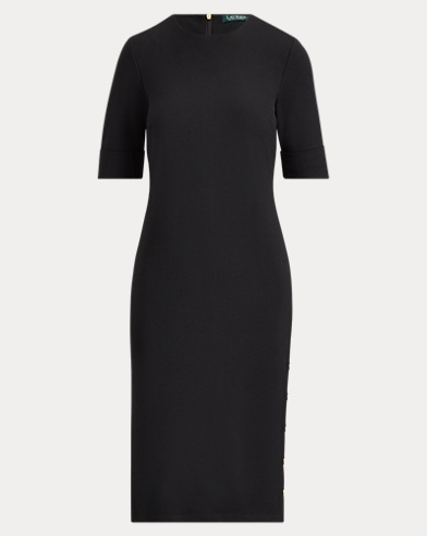 Button-Trim Ponte Dress