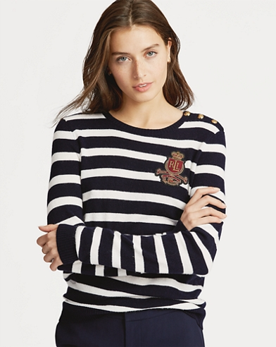 Bullion-Patch Striped Sweater